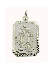 STERLING SILVER SMALL ST CHRISTOPHER PENDANT NECKLACE & CHAIN WITH ANY ENGRAVING