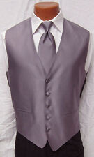 Mens Violet Herringbone Fullback Vest & Matching Long Tie Tuxedo Wedding Prom