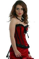 Sturdy Steel Boned Perfect Party Red Velvet Lily Overbust Corset with Black Trim
