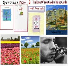 Pack Of 3 Sympathy Thinking Of You Blank Cards Note Card Best Wishes ~  Free P&P