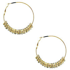 Basketball Wives Inspired Crystal 8mm Disc Beads Small Hoop Earrings 2""