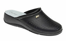 Ladies Black Clogs Mule Kitchen Hospital Leather Nurse Shoe New Size 3 to 8 Heel