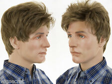 Classic Short Slightly Wavy Style Grey Brunette Men's Wig Available in 15 Colors