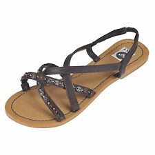 ROXY NEALLA LEATHER STRAPPY SANDALS CHOCOLATE BROWN XMWSL353 £44.99