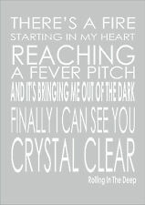 Adele - Rolling In The Deep - Quote From The Song's Lyrics Print Poster A3