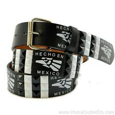 "3-Row Metal Pyramid Studded Leather Belt ""Hecho En Mexico"" Made In Unisex Eagle"