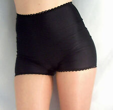 RETRO STYLE HIGH WAISTED SPANDEX SHORTS HOT PANTS WITH LACE EDGE BLACK XS-XXXL