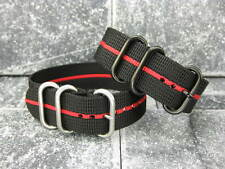 New 22mm Nylon Black Diver Strap 3 Rings Red Stripe Watch Band fit ZULU Maratac