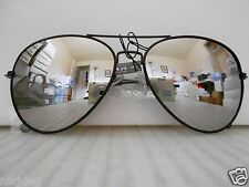 Aviator Mirrored Sunglasses Large Silver Mirror Lenses Black Frame COP