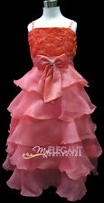 Melon Red Rosette Wedding Flower Girls Pageant Dress Long Gown Sz 3-12 Age 2-13