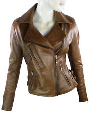 Ladies Real Leather Jacket Short Fitted Bikers Style Vintage Tan Brown Rock