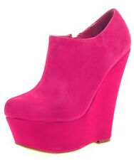 WOMENS WEDGE HEEL ANKLE SHORT BOOTS PLATFORM LADIES WEDGES FAUX SUEDE SHOES 3-8
