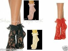 LACE ANKLE SOCKS ANKLETS ONE SIZE CHOICE OF BLACK OR WHITE