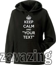 KEEP CALM AND CUSTOMISED YOUR TEXT UNISEX HOODIE ANY TEXT YOU WANT CUSTOM GIFT