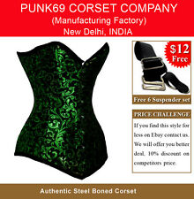 New Sturdy Fully Steel Boned Extra Long Heavy Green Brocade Tight Lacing Corset