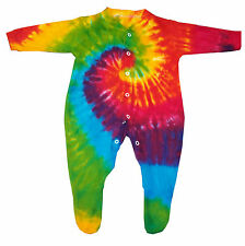 Tie dye Baby Grow-Sleepsuit, Multi colour. Made and dyed in the UK.