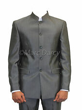 MENS MID GREY2PC NEHRU/GRANDAD COLLAR SUIT/BEATLE STYLE IDEAL FOR WEDDINGS/PROMS