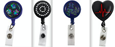 Prestige Medical Retractable Badge Holder PINK RIBBONS *White or Black* ID TAG