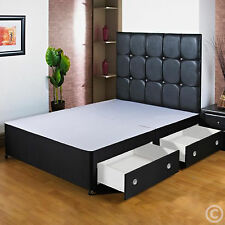 3FT6 LARGE SINGLE BLACK DIVAN BED BASE +HEADBOARD/DRAWERS FREE NEXT DAY DELIVERY
