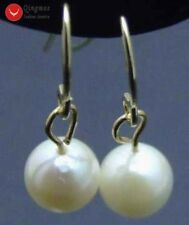 SALE AAA 6-7mm natural Saltwater Pearl dangle Earring & 14k Solid Gold hook-e295
