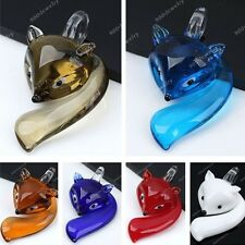 6 Colors Cute Fox Handcraft  Animal Lampwork Glass Pendant For Necklace Charms