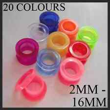 SCREW BACK EAR TUNNEL FLESH PLUG ACRYLIC TAPER FLARE 10 COLOURS 8 SIZES