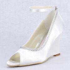US 5-10 frax diamond Wedge Heel bride wedding formal dress White womens shoes