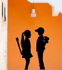 Fun contemporary wall theme Banksy Boy Meets Girl cute vinyl decal wall stickers