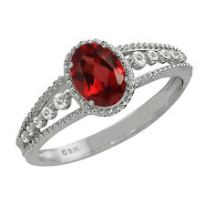 1.06 Ct Oval Garnet and White Topaz 925 Silver Ring