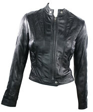 Ladies Real Leather Jacket Short Fitted  Style Black Retro Chinese Collar