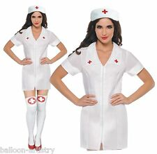 Womens Adult White Sexy Nurse Uniform Fancy Dress Hen Night Costume