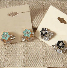 New Forever21 Stud Earrings Fashion Enamel Rhinestone Flower 2Colors Available