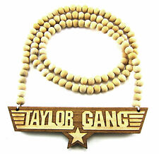 """Wooden Taylor Gang Piece 36"""" Chain Bead Necklace All Good Wood Wiz Khalifa Style"""
