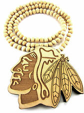 Wooden CHICAGO BLACKHAWKS Pendant Piece Chain Necklace Good Wood Indian American