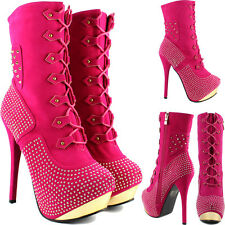 Womens Ladies Sexy High Heel Platform Diamante Spike Stud Ankle Calf Boots Shoes