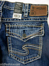 """Silver Jeans Men Zac Flap Relaxed Fit Straight Leg Inseam 34"""". 32 33 34 36 38 40"""