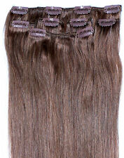 """Light Brown Clip in HUMAN HAIR EXTENSION #6 16"""" 18"""" 20"""""""