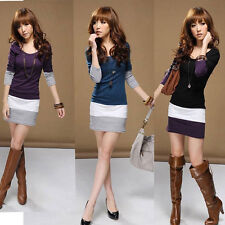 New Fashion Womens Long Sleeve Crew Neck Stripe Casual Cotton Mini Dress