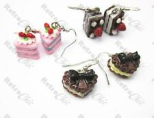 CAKE EARRINGS chocolate wafer PINK STRAWBERRY GATEAUX cream slice FOOD KITSCH