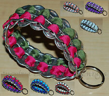Upcycled Soda Pop Can Pull Tab Wristlet Bracelet Keychain Key FOB Ring Grosgrain