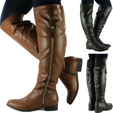 New Womens Ladies Over Knee High Leather Style Flat Low Heel Biker Riding Boots