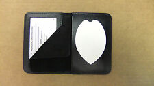 Police Shield & ID Case Holder Recessed Badge Cut Out Genuine Leather  CT14