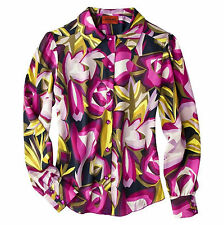 MISSONI for Target Womens Purple Floral SHIRT Button Up Top Blouse Passione Work