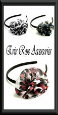 NEW Black White col Animal Print Ruffle Rose Flower Hair Corsage Fascinator Band