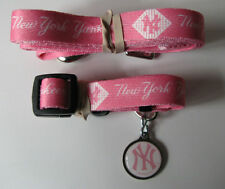 NEW NEW YORK YANKEES PINK PET SET DOG COLLAR LEASH ID TAG ALL SIZES LICENSED