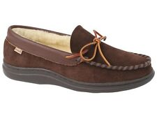L.B. Evans Men's Atlin Boa Moccasin Slipper Chocolate and Boa FREE SHIPPING
