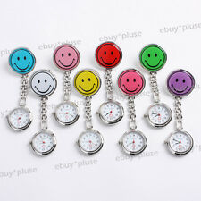 Stainless Steel Smile Face Clip On Fob Brooch Nurse Pendant Pocket Quartz Watch