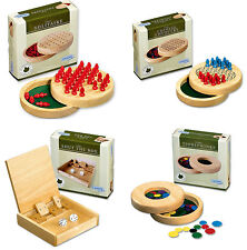 Wooden travel mini Chinese Chequers and Solitaire Games