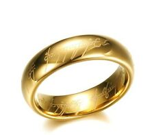 ONE RING Lord of the rings Tungsten Gold tone 7mm LOTR