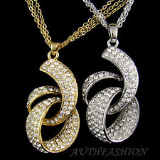 Womens Big Size Crystal Pendant TRIPLE Chain Necklace Gold Silver Plated P9638